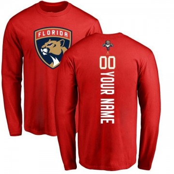 Men's Custom Florida Panthers Custom Backer Long Sleeve T-Shirt - Red