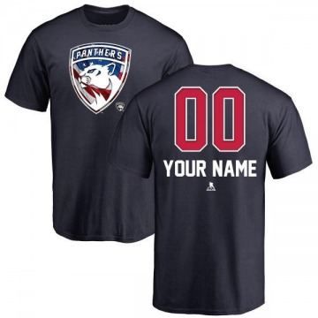 Men's Custom Florida Panthers Custom Name and Number Banner Wave T-Shirt - Navy