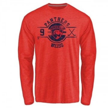 Men's Stephen Weiss Florida Panthers Insignia Tri-Blend Long Sleeve T-Shirt - Red