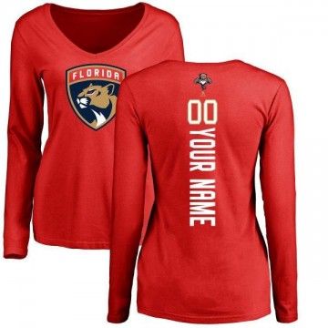 Women's Custom Florida Panthers Custom Backer Long Sleeve T-Shirt - Red