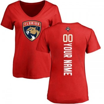 Women's Custom Florida Panthers Custom Backer T-Shirt - Red