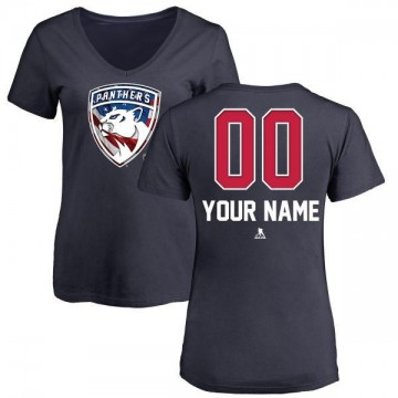 Women's Custom Florida Panthers Custom Name and Number Banner Wave V-Neck T-Shirt - Navy