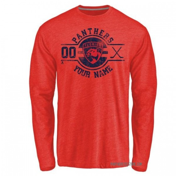 Youth Custom Florida Panthers Custom Insignia Tri-Blend Long Sleeve T-Shirt - Red